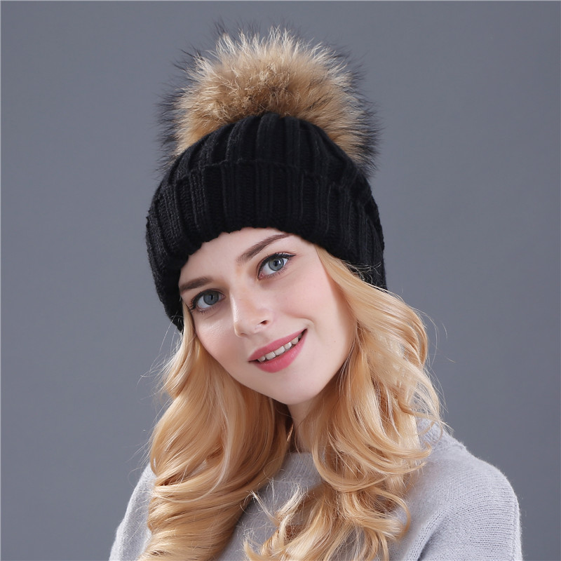 b5eaa0ad3 Xthree mink and fox fur ball cap pom poms winter hat for women girl 's hat  knitted beanies cap brand new thick female cap