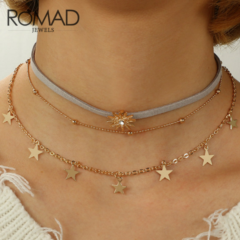 Delicacy Gold Color Star Moon Three Layer Collarbone Chain Necklace for Women Pendants Simple Boho Layering Chokers Necklace