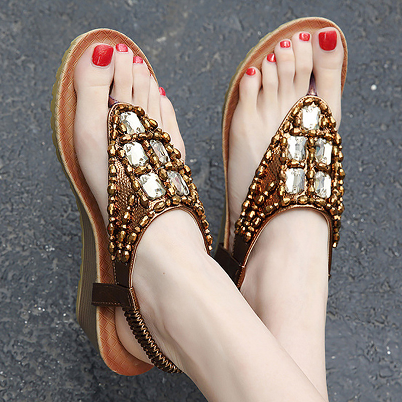 Platform sandals summer shoes women fashion wedges sandal Rhinestone female shoes chaussures femme large size 34-42 phyanic 2017 gladiator sandals gold silver shoes woman summer platform wedges glitters creepers casual women shoes phy3323