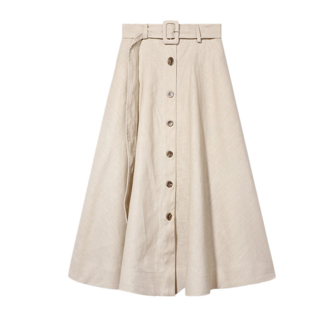 d0b1a194a8 Summer Women Flax Skirt Simple With Belt Korean Version Lady Temperament  Solid Color Buckle Linen Material Half Length Skir