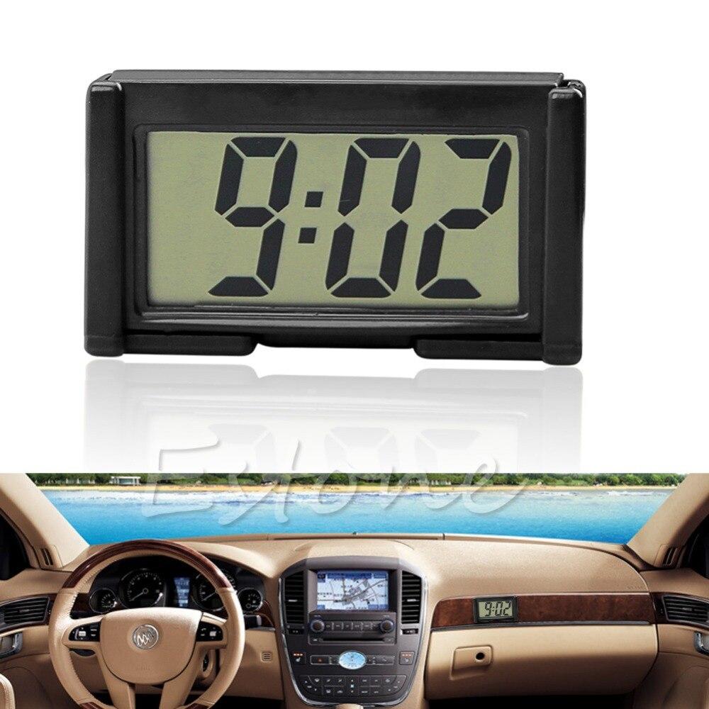 2017Car Auto Interior Dashboard Desk LCD Screen Digital Clock Self-Adhesive Bracket JUN16