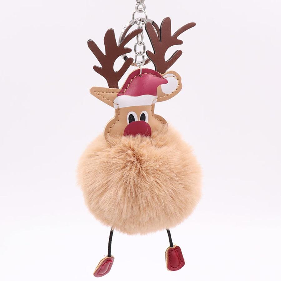 8Seasons Plush Keychain & Keyring Pom Pom Ball Silver Tone Khaki Christmas Santa Claus 19cm(7 4/8