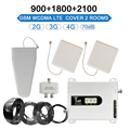 Мобильный трехполосный усилитель 900 1800 2100 GSM повторитель DCS WCDMA 2G 3G 4G LTE сотовый усилитель сигнала крышка 2 комнаты 70dB набор усиления