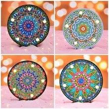 Huacan 5D Diamond Painting LED Light Embroidery Sale Lamp Mandala DIY Cartoon Mosaic Children Christmas Gift Craft