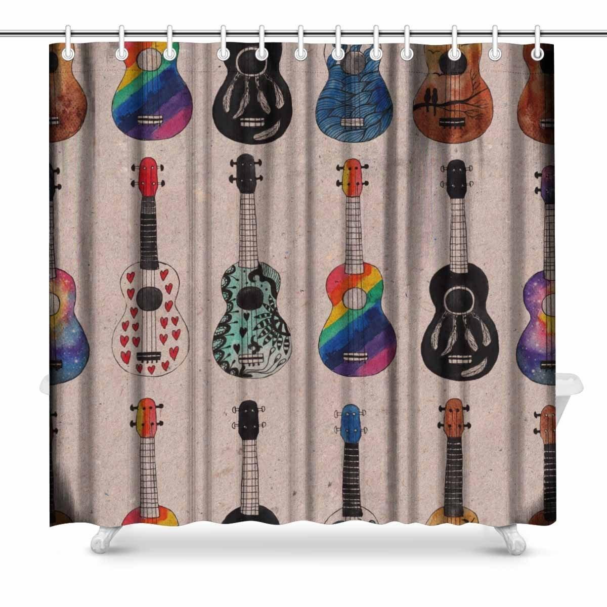Aplysia Ukulele Hawaiian Guitars Kraft Fabric Bathroom Decor Shower