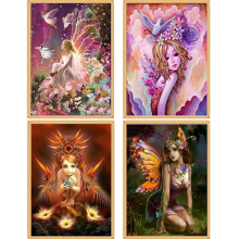 DIY 15D Diy Diamond Painting Wings Elf Girl Cross Embroidery Round Rhinestone