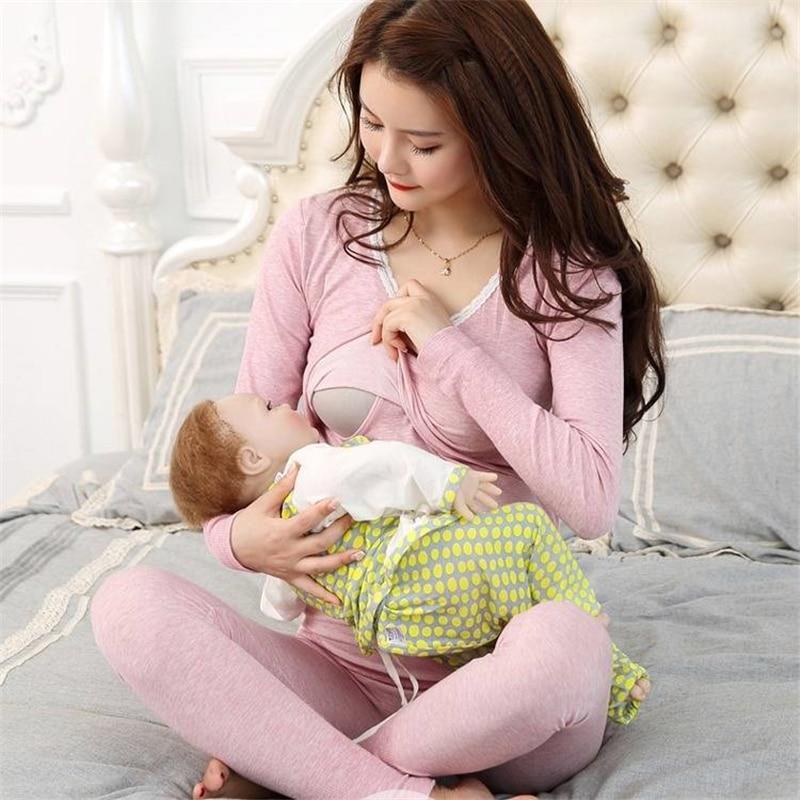 Pregnant women Qiuyi Qiuku suits pregnant period bottoming thermal underwear postpartum feeding breastfeeding clothes pajamas|Sleep & Lounge| |  - title=