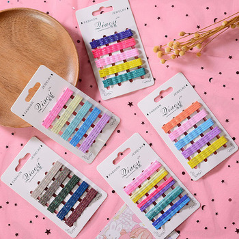 20Pcs/Card Hair Clip Kids Glitter Metal Hairpins Bobby Pins Styling Hairpin Candy Color Barrettes Girls Styling Hair Accessories 1pcs girls pearl hair clip fashion candy color hairclip barrette stick women hair pins bobby hair accessories elegant hairpin
