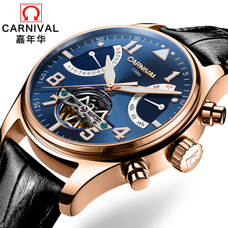 Carnival Tourbillon Mechanical Watch Men Switzerland Skeleton Pilot Wristwatch 25 Jewels Luxury Luminous Leather Rose Steel