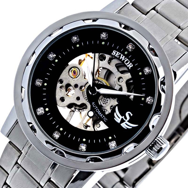 Top Brand Luxury Crystal Mens Women Watches Mechanical Wrist Watch Hand Wind Stainless Steel Fashion Casual Clock Gift+Box