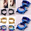 Unisex Titanium Steel Punk Rivet Ear Studs Spike Hoop Huggie Piercing Earrings 4PT6