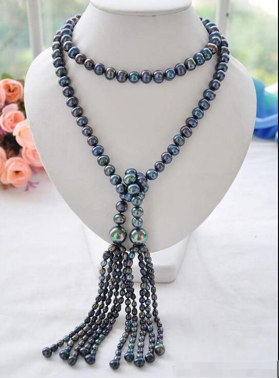 >>>> Z6084 Nouveau Style 10mm paon noir ronde d'eau douce collier de perles 50 pouces - 2