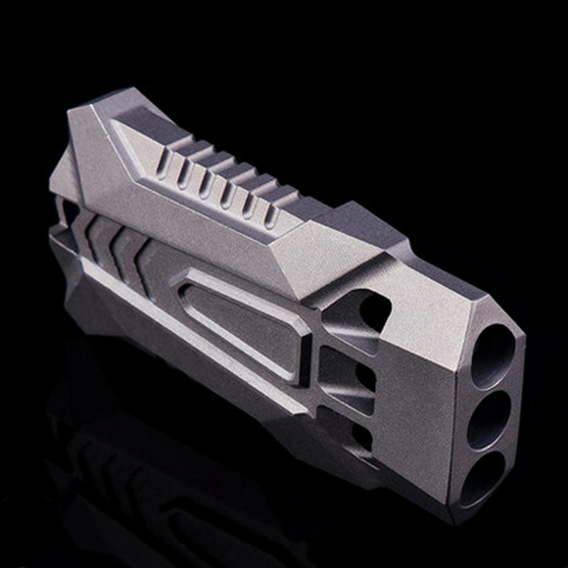 One piece processing titanium alloy three hole whistle fighter shape waterproof non slip outdoor survival whistle in Safety Survival from Sports Entertainment