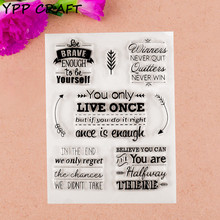 YPP CRAFT 1 Sheet Live once Transparent Clear Silicone Stamps for DIY Scrapbooking/Card Making/Kids Fun Decoration Supplies