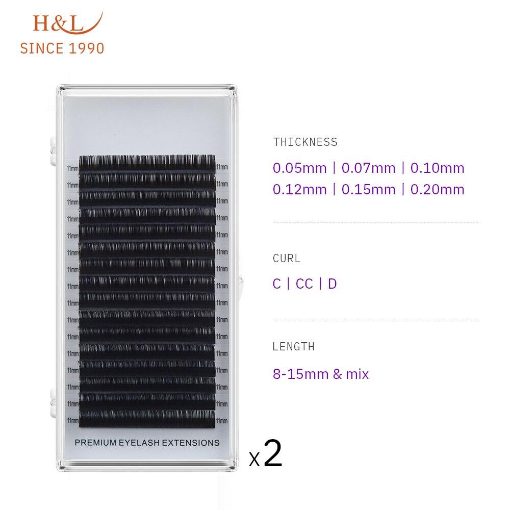 H&L SINCE 1990 16Rows Faux Mink Individual Eyelash Lashes Maquiagem Cilios For Professionals Soft Mink Eyelash Extension