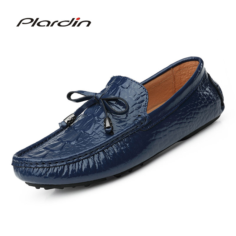 Plardin New Four seasons Fashion Casual Split Leather Comfortable Sewing Butterfly knot Crocodile pattern man Leather