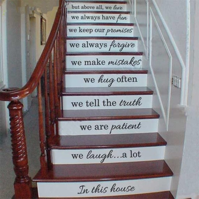 Vinyl Stair Decals In This House We Do Quote Decals For Staircase Riser  Decor
