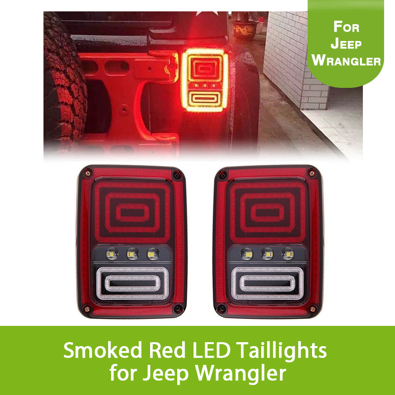 Smoked Red LED Taillights for Jeep Wrangler Tail Brake Light Reserve Light Real Back up Turn Signal Lamp for Jeep Wrangler JK smoked 6 x 8 wrangler led rear taillights plug