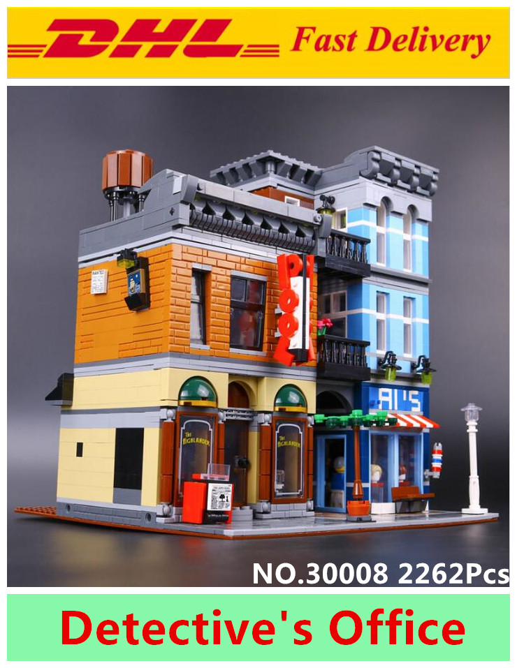 LELE 30008 2262Pcs Creator City Street Detective's Office Model Building Kit Blocks Bricks Toys for kids gift LEPIN 15011 10246 lepin city creator 3 in 1 beachside vacation building blocks bricks kids model toys for children compatible with lego gift kid