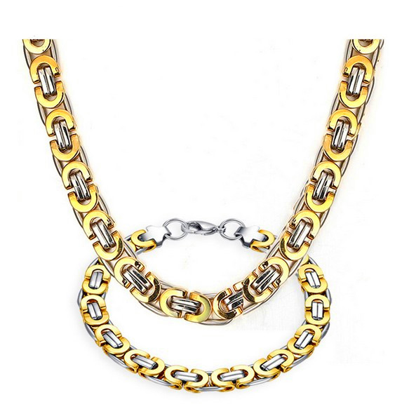 Trendy Men Jewelry Sets Snake Chain Gold Silver Color Necklace Bracelet Set Men Link Chain Jewellery Jewlery Collare Party Gift