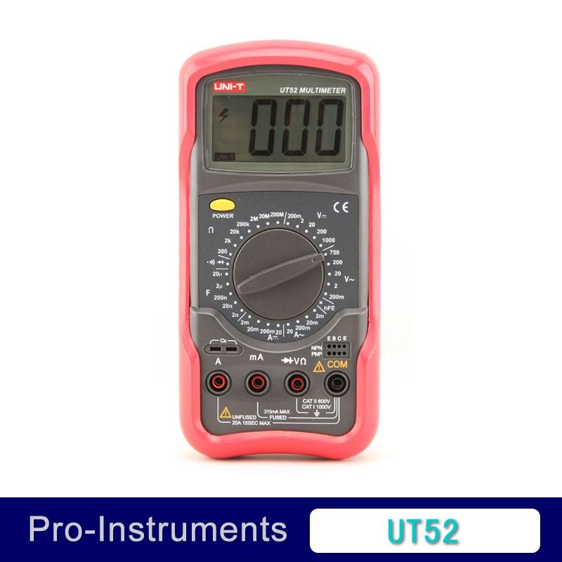 UNIT UT52 Digital Multimeter 1000V 20A DMM AC DC Voltmeter Resistance Diode test Palmsize Max Holster vici vc97 auto range dmm ac dc voltmeter capacitance resistance digital multimeter vs fluke15b free shipping