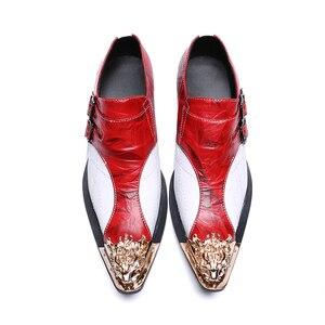 Мужские модные красные, Белые Двойные туфли для вечеринок с пряжкой, удобные деловые туфли-оксфорды из натуральной кожи с острым носком и бе...