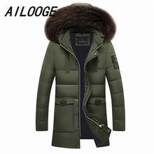 Mens Winter Duck Down Coats 2016 Fur Collar Feather Parka For Men Thicken Jaqueta Masculina Male Warm Jacket Outwear Green Parka