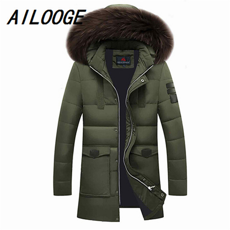 Mens Winter Duck Down Coats 2016 Fur Collar Feather Parka For Men Thicken Jaqueta Masculina Male Warm Jacket Outwear Green Parka