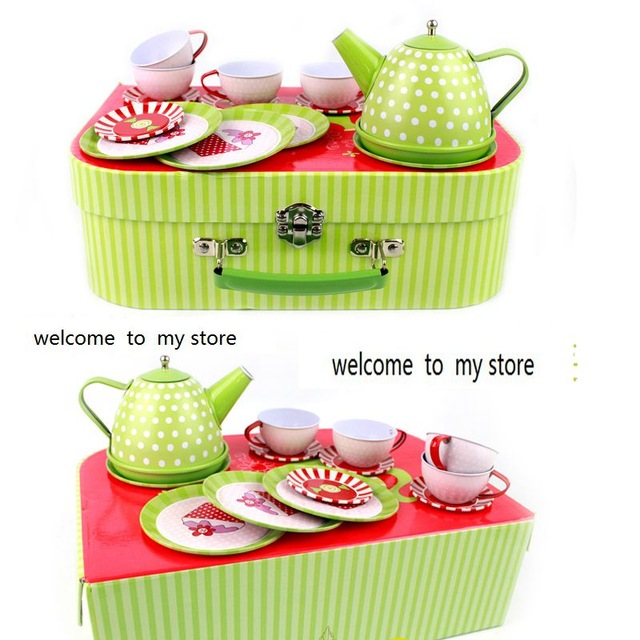 Children play house toys Simulation kitchen tinplate Tea girl Tea Tea Set Gift Box tea specaily premium new tea fen quality gift box gift