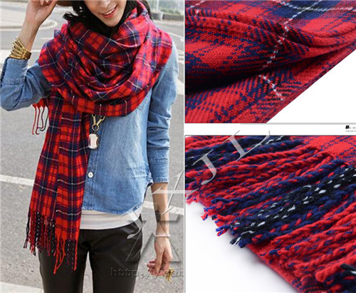 6b3fa9b76d6 US $9.59 |Retro Women Plaid Blanket Oversized Tartan Scarf Wrap Shawl Plaid  Cozy Checked Pashmina-in Women's Scarves from Apparel Accessories on ...