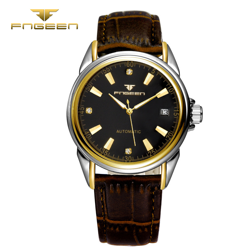 fngeen 6601 leather mechanical fashion automatic