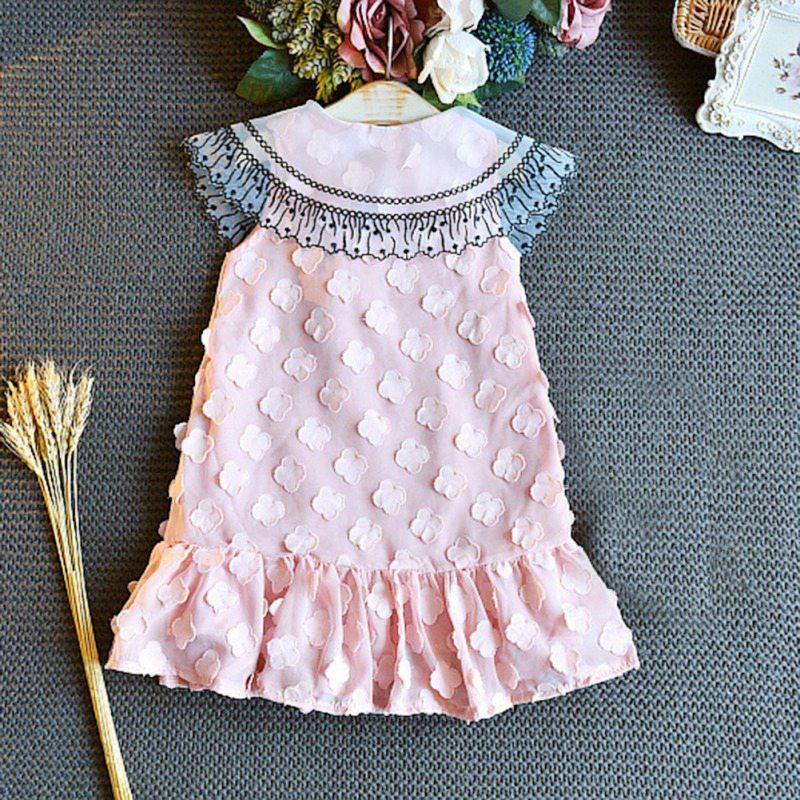 Summer Baby Girls Dress Sleeveless Flower Pattern Casual Lace Mesh Dress Fashion Kids Toddler Princess Sundress 1 in Dresses from Mother Kids