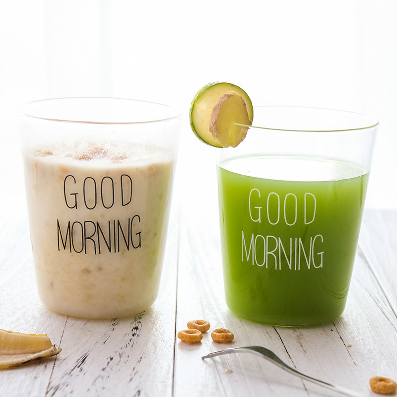 300ML Creative Glass Milk Breakfast Cup Transparent Coffee Cup Hot Water Juice Tea Cup Good morning breakfast glass