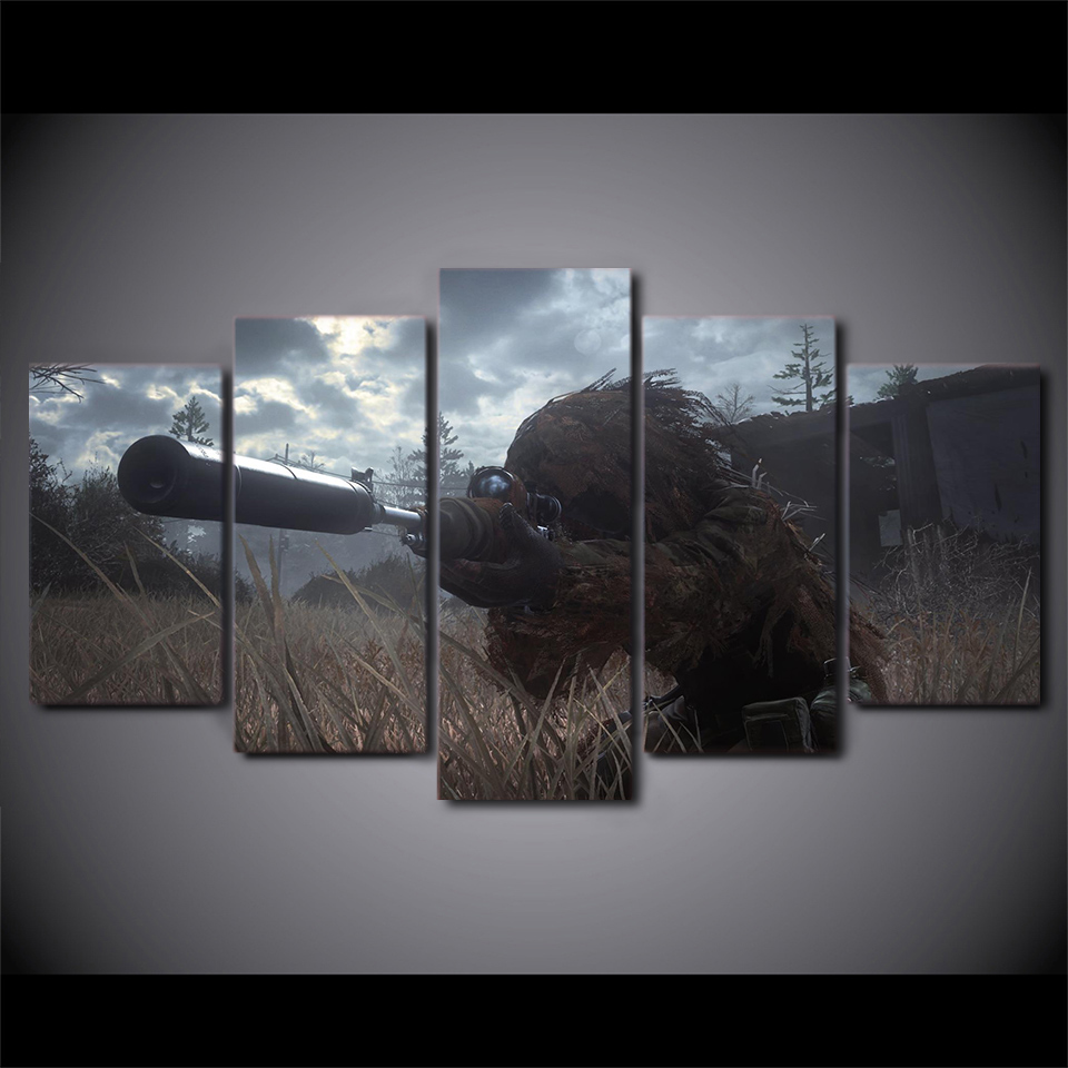 5 piece canvas art HD print game poster call of duty sniper paintings for living room wall free shipping