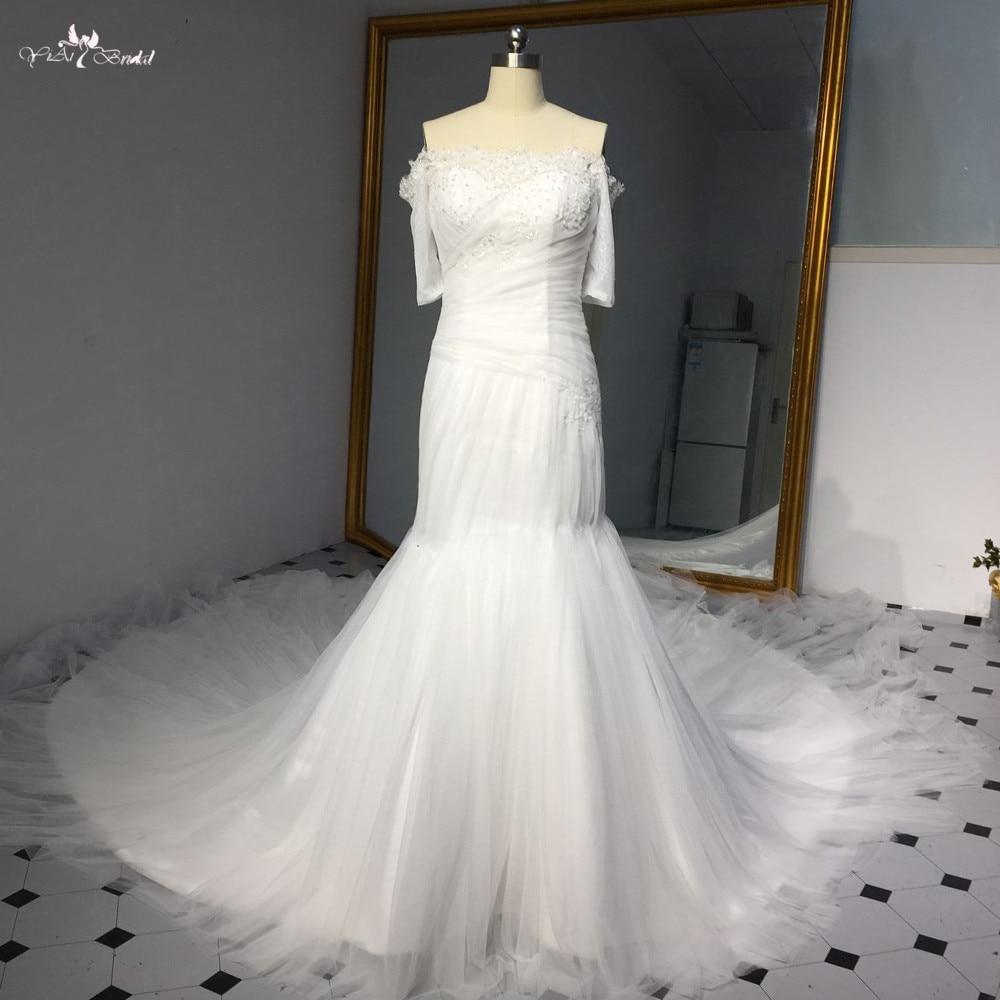 LZ264 New Design Mermaid Wedding Dress Vestido De Noiva Ivory Special Shape Cathedral Train Bridal Dresses 2018 Robe De Mariee