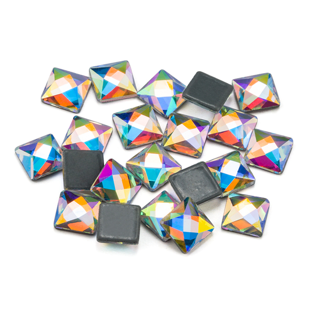 3f27af7094 US $5.2 20% OFF 6mm Crystal Clear Glass Stone Square Hotfix Rhinestones /  Iron On Flat Back Crystals-in Rhinestones from Home & Garden on ...