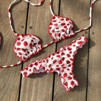 2018 Strawberry Bikini Set Swimwear Women Tie Swimsuit Sexy Print Bikinis Maillot De Bain Feme Beachwear