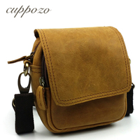 Cuppozo Wholesale Price Small Yellow Messenger Bags Vintage Genuine Leather Leisure Shoulder Bag/Belt Waist Bag For Man