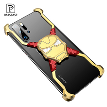 OATSBASF Iron Man  Luxury Metal Case for Huawei P30 Pro Cover Safety Shockproof Personality Bumper Shell