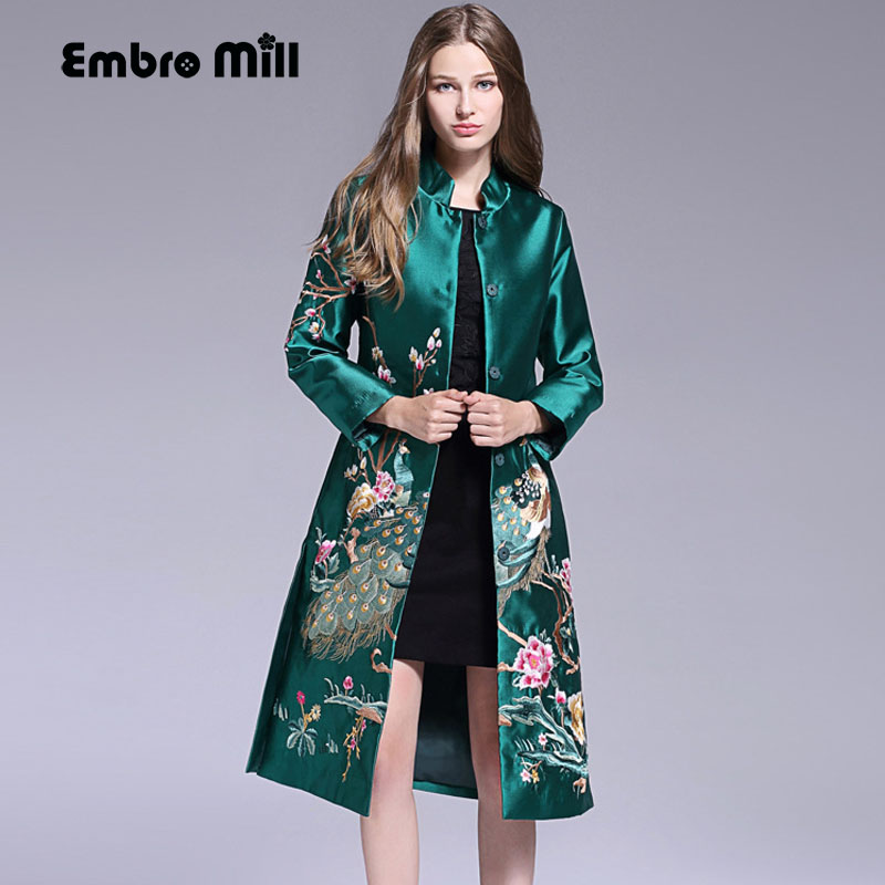 High quality runway women long trench coat autumn and winter vintage royal embroidery windbreaker women overcoat female M-XXL