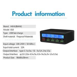 Image 5 - 50 w carga rápida 3.0 5 portas usb carregador adaptador do telefone móvel carregador rápido para iphone samsung xiaomi tablet estação carregador plug