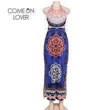 Comeonlover Boho Vintage Long Dress Flowered Halter Backless Tropical Vestidos RI80424 Split Beach Summer Robe Femme Ete 2017