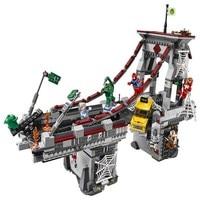 LEPIN Super Heroes Spider Man Web Warriors Ultimate Bridge Battle Building Blocks DIY Figure Toys For