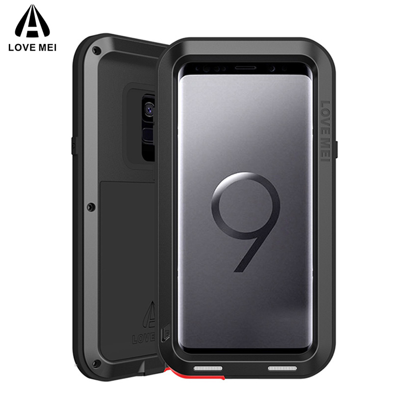 AMORE MEI Armatura Caso Antiurto Per Samsung Galaxy S9 S9 Plus copertura Potente Cassa di Alluminio Del Metallo Per La Galassia S9 S9Plus Coque Capa