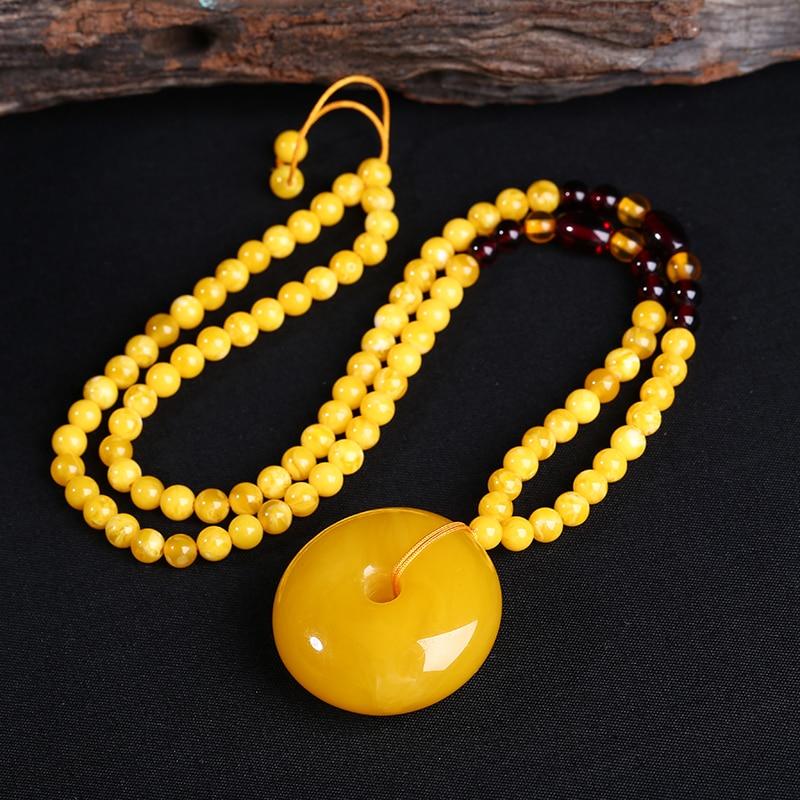 Cire d'abeille boucle pendentif chaîne pendentif avec clavicule en forme de collier ambre