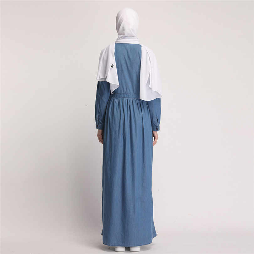 Для женщин Абая, для мусульман платье кафтан турецкий мусульманская одежда для Дубай Костюмы с длинными рукавами джинсовая рубашка макси платья одежда с вышивкой