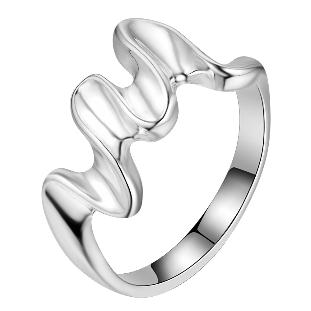 Silver Plated Wedding Rings For Women wave shape Women Antique Silver-Color Top Quality ring jewelry AR212