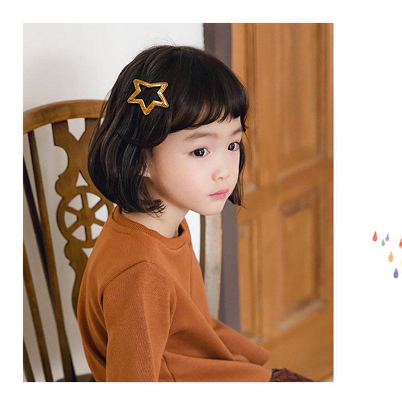 5cm Women Metal Snap Hair Clip Pins BB Hairpins Cute Big Glitter Star Hair Clip For Baby Children Girls Styling Accessories