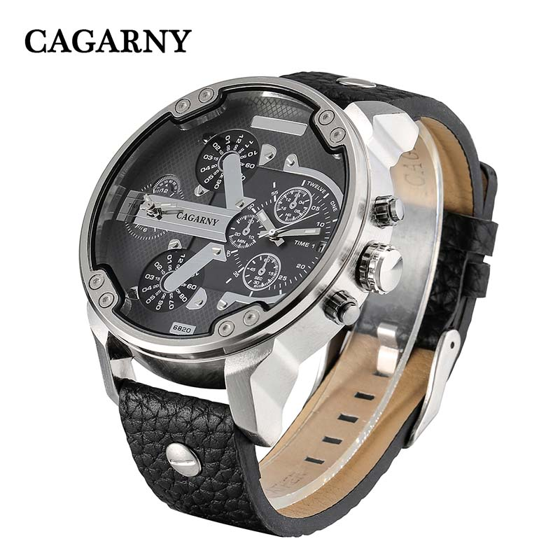 Men Sports Watch Quartz Military Watches Fashion Wristwatches Leather Watchband Date Dual Time Display Cagarny Watches Men