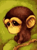 Wronged Little Monkey Cartoon Animal Painting By Numbers Modern Wall Art Acrylic Picture Gift For Home